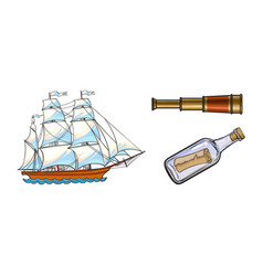 sailing ship telescope message in bottle vector image vector image