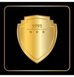 shield emblem gold black vector image