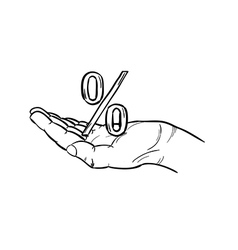sketch of the percentage symbol and hand vector image vector image