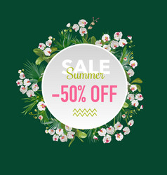 summer sale tropical orchid flowers banner vector image vector image