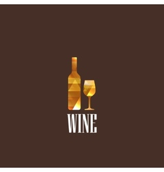 with diamond wineglass and bottle vector image vector image