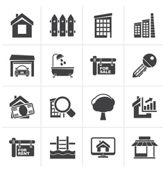 Black Real Estate Icons vector image vector image