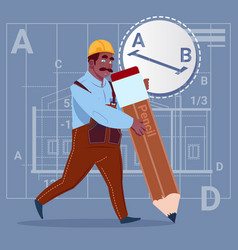 cartoon african american builder hold big pencil vector image
