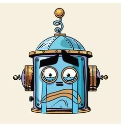 emoticon cry emoji robot head smiley emotion vector image vector image