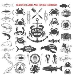 Seafood menu labels set design elements for logo vector