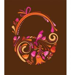 vintage floral easter basket vector image vector image