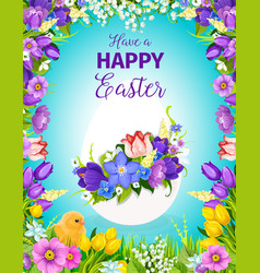easter egg floral greeting card with flower frame vector image vector image