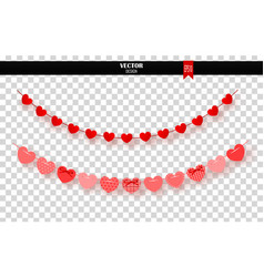 garland of red hearts on transparent background vector image vector image