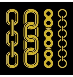 Golden chain parts icons set on white background vector image