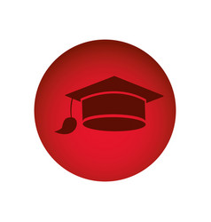 red circular frame with graduation cap vector image