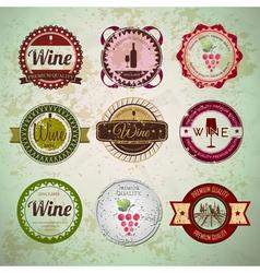 Set of wine vintage labels vector image