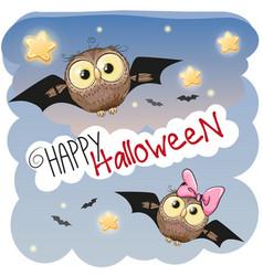 two halloween owls vector image