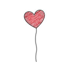 color pencil drawing of balloon in shape of heart vector image vector image