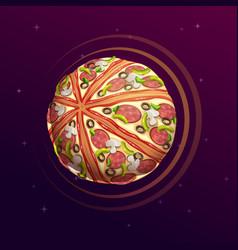 pizza planet fantasy space vector image vector image
