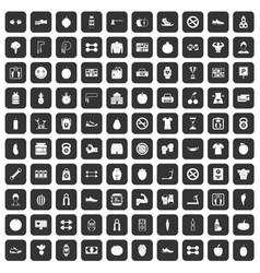 100 gym icons set black vector