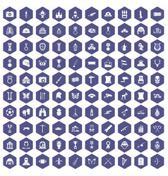 100 museum icons hexagon purple vector