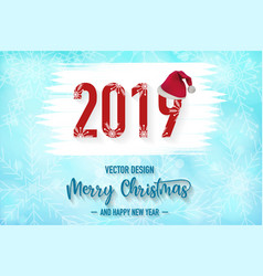 2019 merry christmas red background with vector image