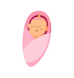 A baby girl icon swaddle vector