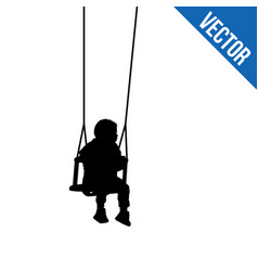 a child silhouette on swing on white vector image
