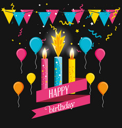 birthday candles with garlands and balloons air vector image