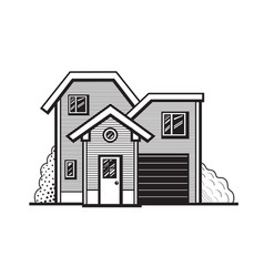 Black and white cottage vector
