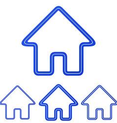 Blue line homepage logo design set vector