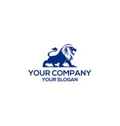blue lion logo design template vector image