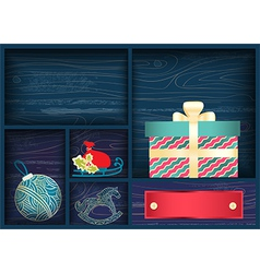 Box with christmas decorations vector
