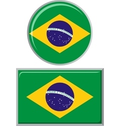 Brazilian round and square icon flag vector image