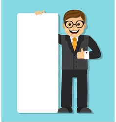 businessman with a big blank paper sign vector image