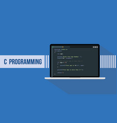 c programming language with script sample and vector image