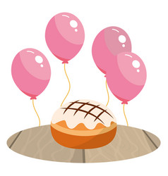 Cake and balloons vector