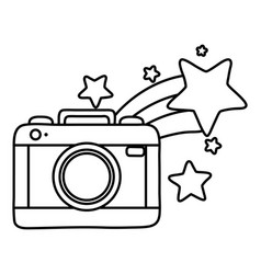 Camera and shooting star black and white vector