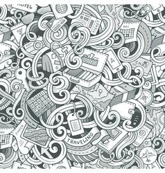 Cartoon doodles travel planning seamless pattern vector