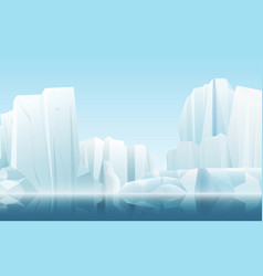 Cartoon soft color nature winter arctic icy fog vector