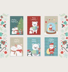celebration happy christmas card set decoration vector image