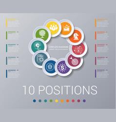 Circles diagram elements template infographics 10 vector