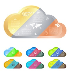 cloud divided into three parts of gold silver and vector image
