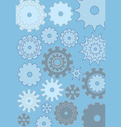 cogwheels on blue background techno design gears vector image