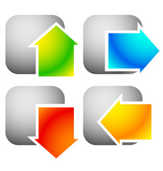 Colorful bold arrow icons arrows pointing vector