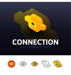 Connection icon in different style vector image