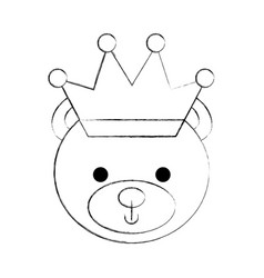 Cute bear with crown teddy face toy gift vector
