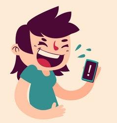Cute girl laughing at phone vector