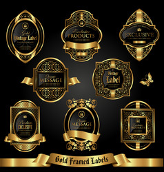 Dark gold-framed labels in vintage style vector