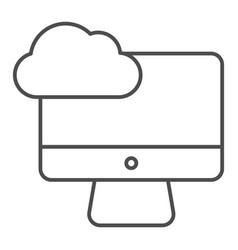 desktop cloud computing thin line icon vector image