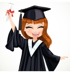Diploma graduating happy girl vector