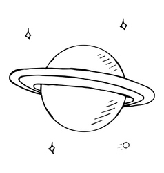 doodle planet Saturn with stars hand drawn vector image