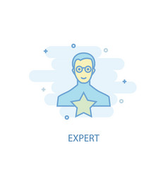 expert line concept simple line icon colored vector image