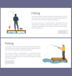 Fisherman with rod fishing from platform vector