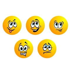 Five cute yellow emoticons vector image vector image